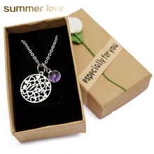 Love Heart Mom Necklaces Crystal Birthstone Pendant Necklace Stainless Steel Chain Charm Mothers Day Birthday Gift for 2019