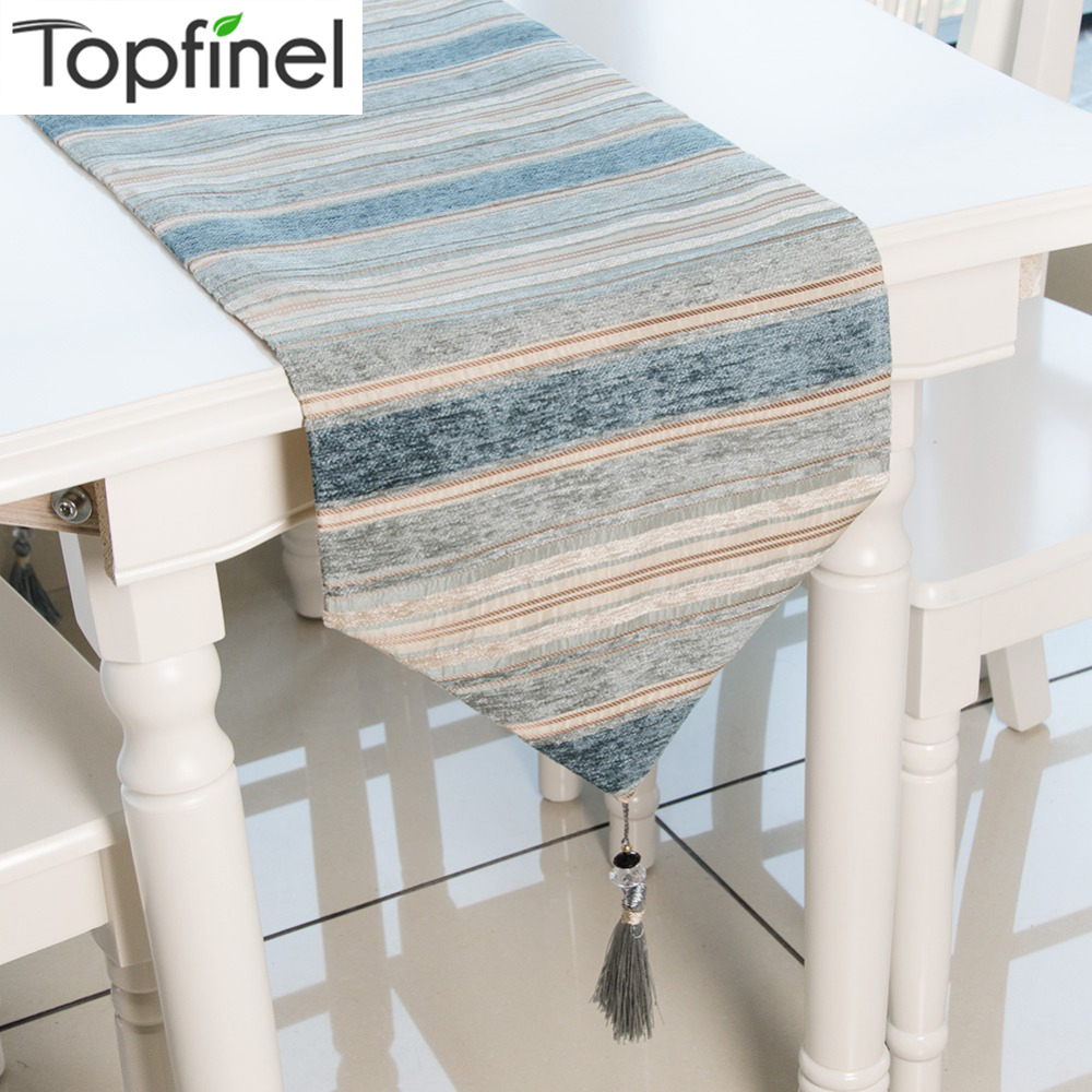 Topfinel Table Runners Colorful Stripes With Tassels Chenille Canvas Fabric Table Top Decoration Home For Outdoor Wedding Party