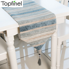 Topfinel Table Runners Colorful Stripes With Tassels Chenille Canvas Fabric Top Decoration Home For Outdoor Wedding Party