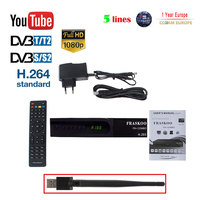 FRASKOO F9 Plus COMBO Digital Satellite Receiver DVB T2 DVB S2 Full HD 1080p with USB WIFI Support H.265 Wifi 3G Youporn