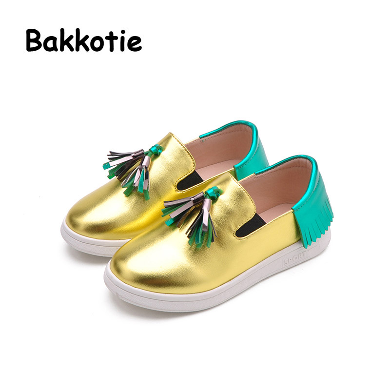 Bakkotie 2018 New Fashion Child Spring Autumn Baby Boy Casual Slip On Sliver Kid Brand Breathable Girl Trainer Tassels Loafer bakkotie 2017 new fashion spring autumn baby boy casual sport shoe brand leisure trainer breathable sneaker girl first walkers