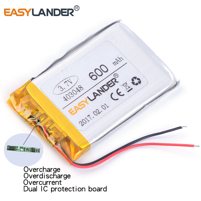 403048 3.7V 600mAh Rechargeable li Polymer Li-ion Battery For mp4 mp5 phone speaker recorder DVR GPS small toys 043048 403050