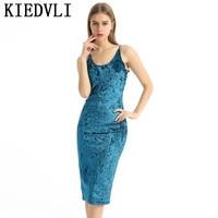 KIEDVLI Sandalia Cross Club de Mujeres Del Vestido de Terciopelo Azul Real Montaje Bodycon Slip Vestidos de Verano Sexy Delgada Elegante Vestido de Midi 0961