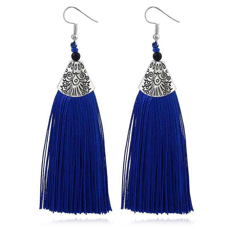 LOVBEAFAS エスニックフリンジタッセルロングイヤリングビーズ声明 Brinco 女性ファッションジュエリービジューファム