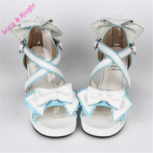 Japanese Sweet Bowtie Lace Trim Criss Cross Chunky Heel Lolita Princess Girl Sandals Summer Shoes