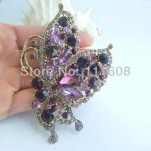 Подвеска-бабочка Элегантная Брошь-бабочка булавка w фиолетовые стразы, кристалл EE04234C5