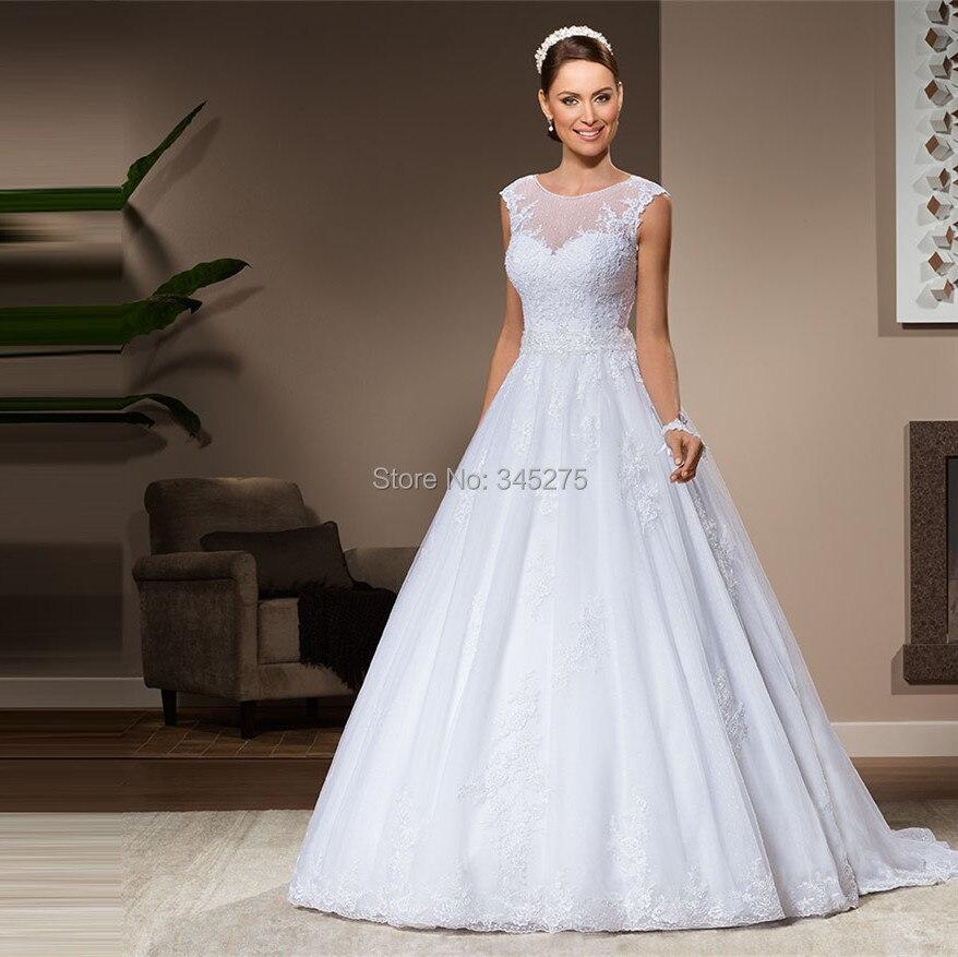 ab1c0b20380c Brasil rendas e tule mangas illusion colher decote lace apliques vestido de  baile vestido de noiva 2014 vestido de noiva plus size em Vestidos De  Casamento ...