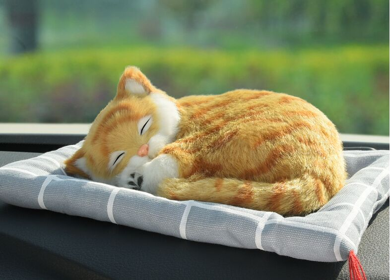 about 20x14cm simulation sleepy cat model sounds miaow cat,air freshener charcoal bag mat,car accessories decoration gift a1715