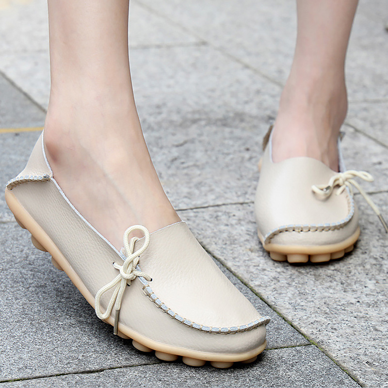 Women flat shoes casual loafers genuine leather slip-on women shoes sewing butterfly-knot large size 34-44 22 colors zapatillas new 2017 mens white color genuine leather slip on flat casual shoes cool guys brand hip hop shoes size 38 44