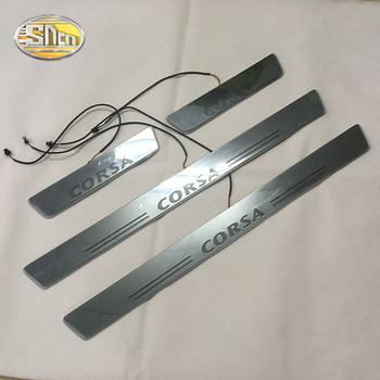 цена на SNCN LED door sill for Opel Corsa Led moving light door scuff plate welcome pedal light accessories
