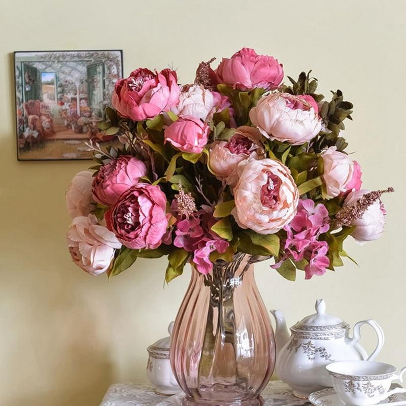 ④1 Bouquet silk flower European Artificial Flowers Bridal Decor ...