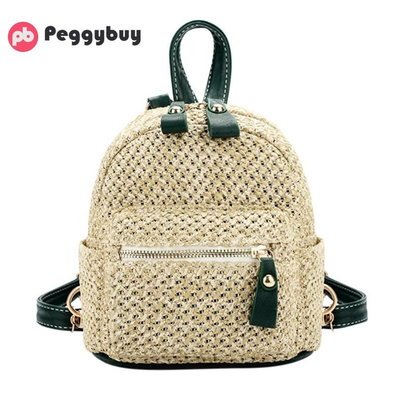 Fashion Mini Straw Designer Women Backpack Teen Shoulder Travel Rucksack Bag Elegant Simple Weave Hollow Beach Satchel Schoolbag
