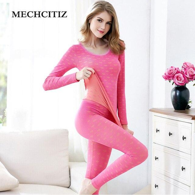 Mechcitiz новые зимние комплекты термобелья Для женщин бренд анти-микробных стрейч Для женщин thermo Нижнее Бельё для девочек женские теплые Кальсоны для женщин