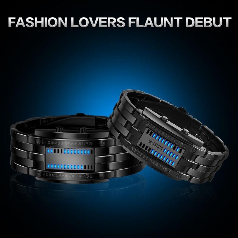 Skmei populares relojes creativos de moda para hombres, pantalla Led Digital, resistente a los golpes, relojes de pulsera para amantes, reloj para hombres - 5