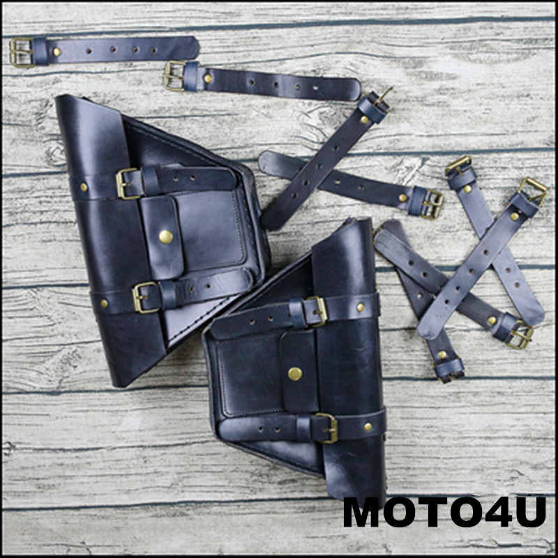 MOTO4U BLACK CAFE RACER Motorcycle Saddle Side Bags Genuine leather Motor Luggage Bag Chopper Bike Tool Bags old school motorcycle capacity luagge side bag leather saddle bag dual sport bike chopper