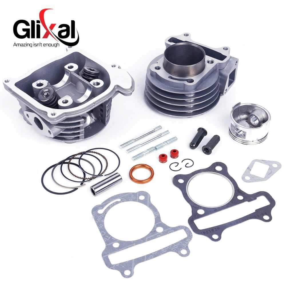 Glixal GY6 100cc 50 Mm Mesin Skuter Big Bore Silinder Membangun Kembali Kit Cylinder Head ASSY 4-Stroke 139QMB 139QMA moped (64 Mm)