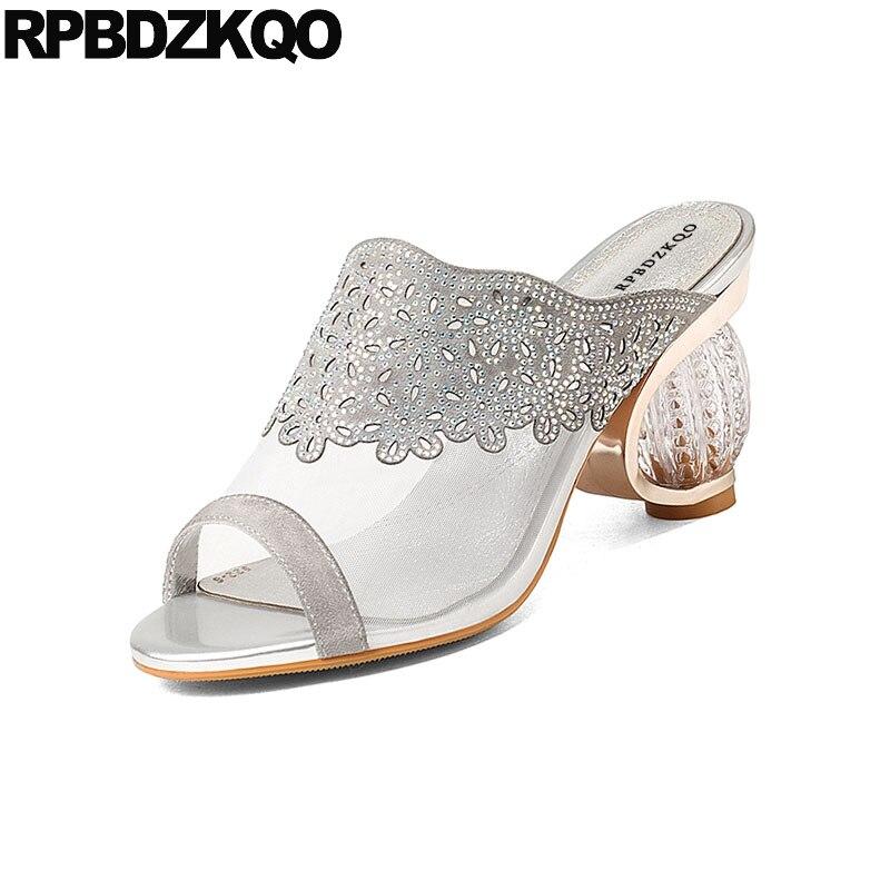 Hauts Diamant Talons Luxe Designer Verre Dentelle En De Pantoufles  Diapositives Noir gris Mariage Sandales Toe Bloc Chaussures Femmes ... 31141b31045c
