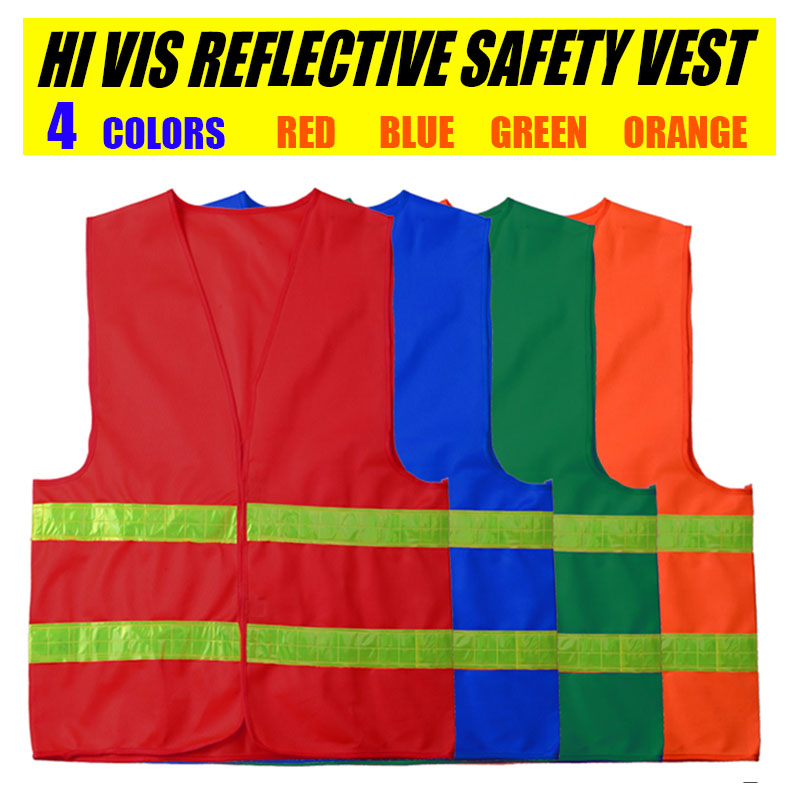 Spardwear Mens Hi Vis Reflective Safety V neck Vest Crystal Lattice Construction Traffic Work Security V-Vest Free shipping