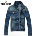 Spring 2017 New Casual Fashion Slim Denim Jacket Solid Popular Single Breasted Men Coat All-matched Fitness Veste Homme MWJ1677