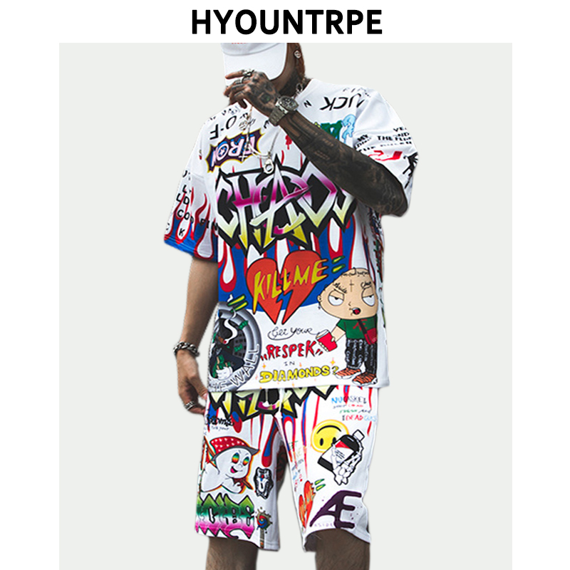 2 Pieces Sets Mens Fashion Graffiti Printed Short Sleeve Loose T Shirt And Elastic Waist Sweatpant Harajuku Clothing Hip Hop Set