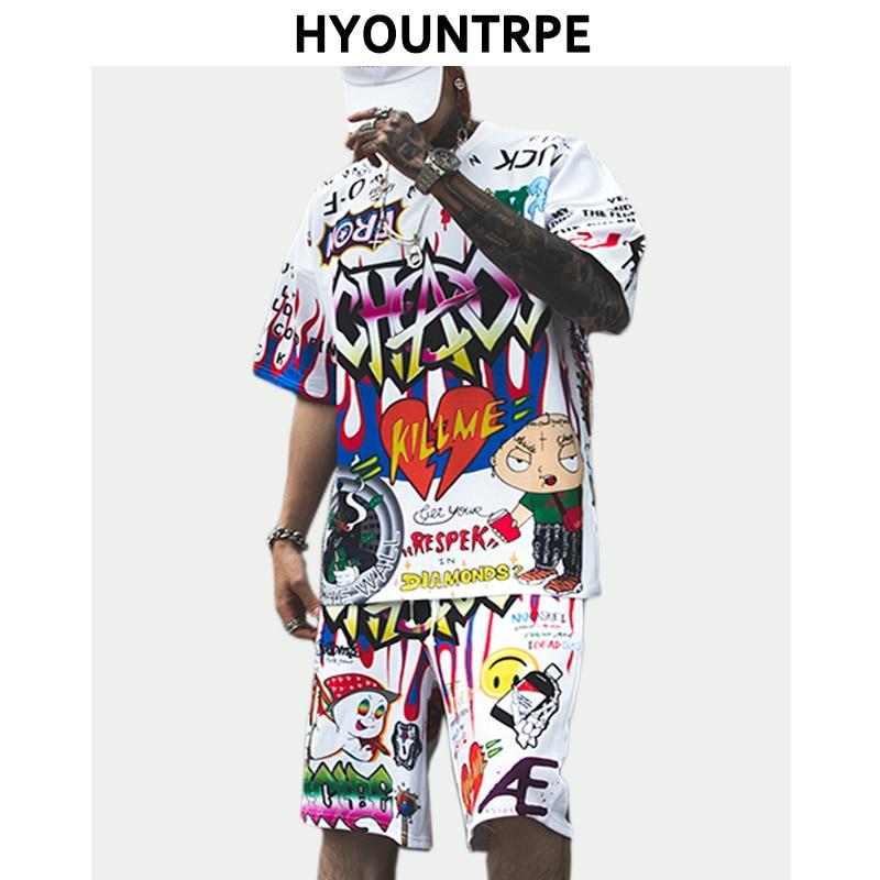 2 Pieces Sets Mens Fashion Graffiti Printed Short Sleeve Loose T Shirt And Elastic Waist Sweatpant Harajuku Clothing Hip Hop Set