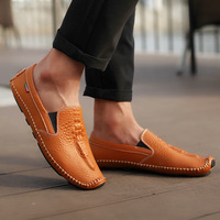 High Quality Genuine Leather Loafers Men Breathable Casual Shoes Soft Men Flats Fashion Boat Shoes Lazy