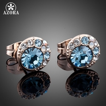 AZORA Blue Eyes Rose Gold Color Stellux Austrian Crystal Round Stud Earrings TE0072