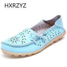 Большой размер Летние / осенние новые Женщины Мягкая кожа Противоскользящая плоская обувь Матери Круглый Toe женщин Повседневная обувь Женщины Выдолбленный Loafers
