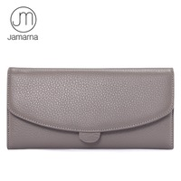Jamarna JM Genuine Leather Full Grain Female Wallet Zipper Coin Pocket Card Holder Purse High Quality