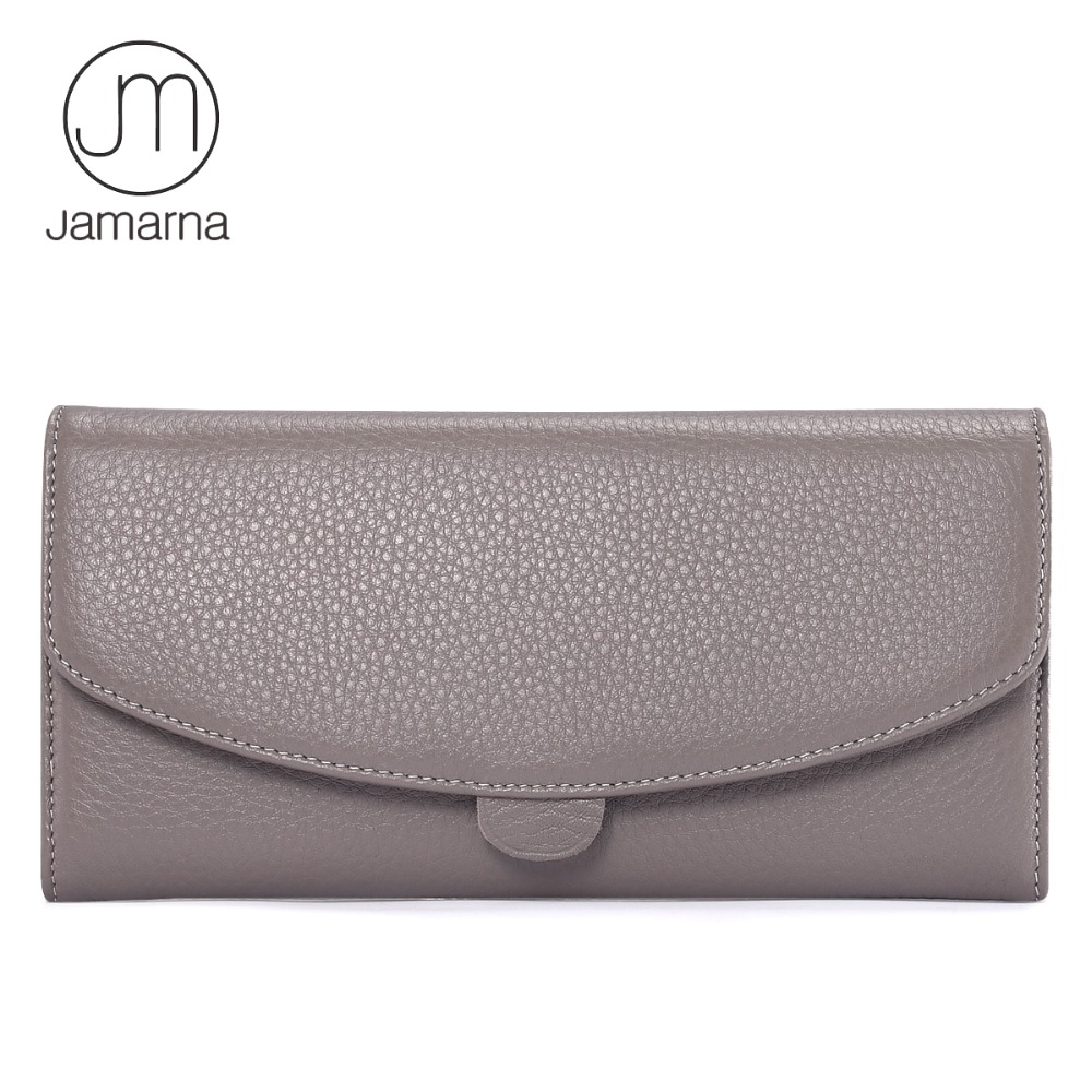 Jamarna Genuine Leather Wallet For Women Long Clutch Zipper Packet Coin Pures Card Holder Phone Wallet Female Free Shipping large capacity women wallet leather card coin holder money clip long clutch phone wristlet trifold zipper cash female purse