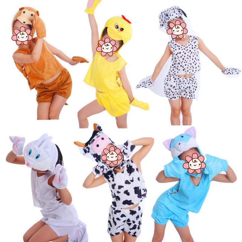 2018 Boy Girls Various Animal Costume Kids Duck Lion Cow Monkey Pig Anime Theme Cosplay Costumes Party Dress Decor Purim