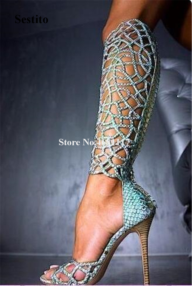 Charming Women Fashion Open Toe Rhinestone Knee High Thin Heel Gladiator Boots Cut-out Carved Long High Heel Sandal BootsCharming Women Fashion Open Toe Rhinestone Knee High Thin Heel Gladiator Boots Cut-out Carved Long High Heel Sandal Boots