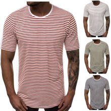 E-BAIHUI New Stripe t shirts Casual Men long T-Shirt Fashion Hiphop Streetwear Man T Shirts Summer Short Sleeve Male Tops G032