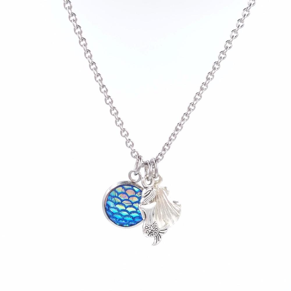 Весы Русалочки подвеска из морской раковины ожерелье нержавеющей