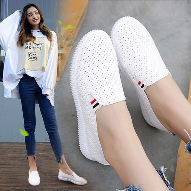 White Flats Shoes Espadrilles Slip-On-Shoes Women Sneakers Woman Loafers Low-Heels Casual