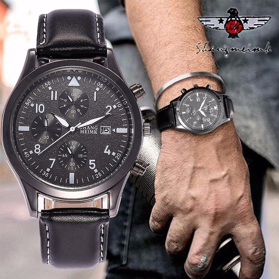 SHANGMEIMK Brand Luxury Men Business Watches Fashion Casual Leather Men's Calendar Quartz Wristwatches Relogio Masculino