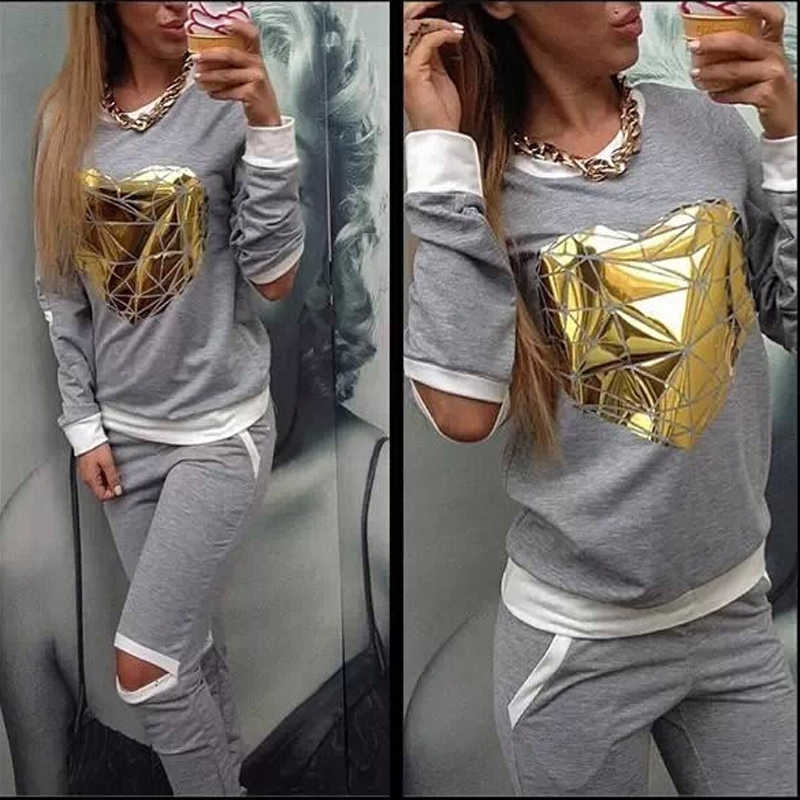 XUANSHOW 2019 Hot Gold Heart Hollow Out Lady Trainingspak Vrouwen Hoodies Sweatshirt + Broek Sportwear Kostuums trainingspak 2 Stuk set