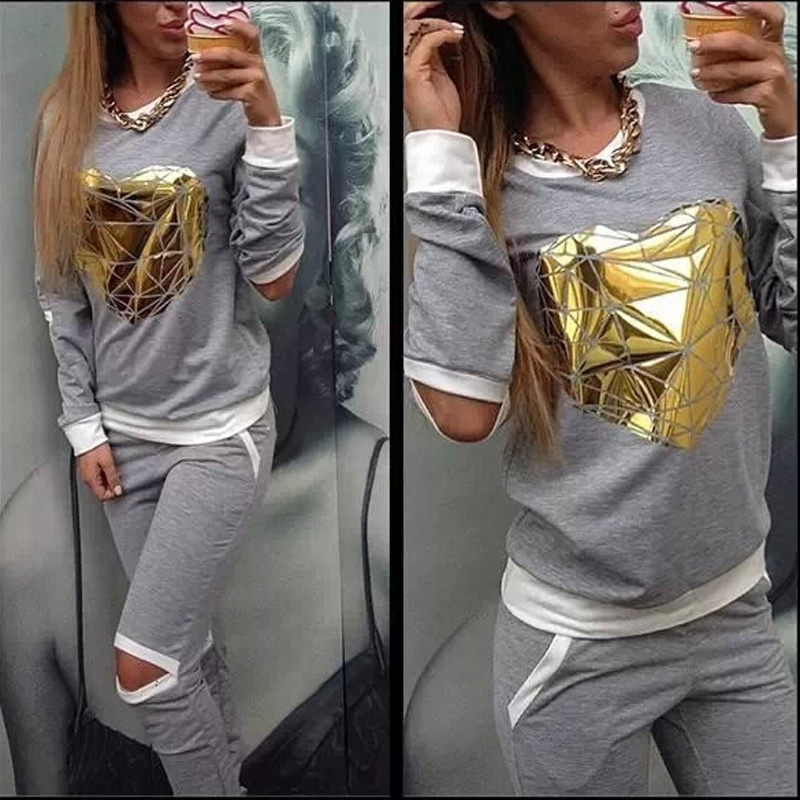XUANSHOW 2018 Hot Gold Heart Hollow Out Lady Tracksuit Women Hoodies