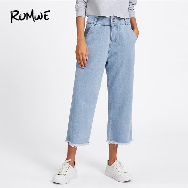 ROMWE   Jeans   Woman Wide Leg Pants Denim   Jeans   For Women 2019 New Design Button Fly Mid Waist Loose Trousers Plain Blue Pants