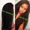 8A gruesa peluca Yaki italiano virgen malasia Kinky recta peluca del frente del cordón 130% densidad del pelo humano pelucas delanteras del cordón con el pelo del bebé