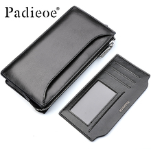 Padieoe 2017 New Genuine Cow Leather Men Wallet Luxury Brand Men's Day Clutches Bag Casual Durable Card Holder Wallet With Strap