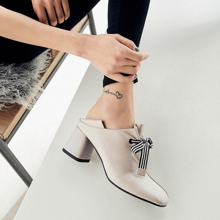 PXELENA Lederen Muilezels Pompen Vrouwen Schoenen Chunky Blok Hoge Hak Jurk Schoenen Elegante Strik Soft Comfort 2019 Plus Size-in Damespumps van Schoenen op  Groep 3