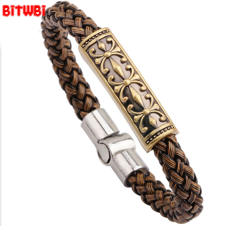 PUNK Cross Skull Drap Weave Leather Mens Jewelry Alloy Accessories Magnet Buckle bracelet jewelry Leather Bangles