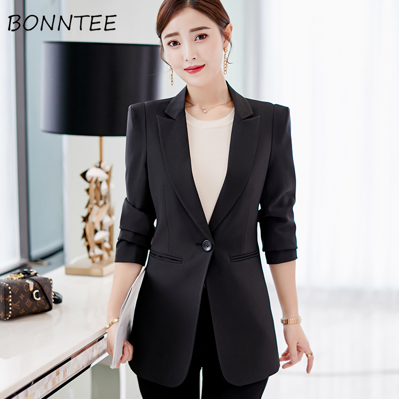 Blazers Solid Slim Elegant Women Single Button Office Ladies Korean Fashion All-match Womens Coat New Style Casual Outwear Chic