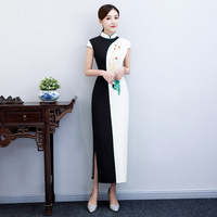 Black White Handmade Button Novelty Dress Chinese Traditional Mandarin Collar Long QiPao Short Sleeve Slim Dress Plus Size M 3XL