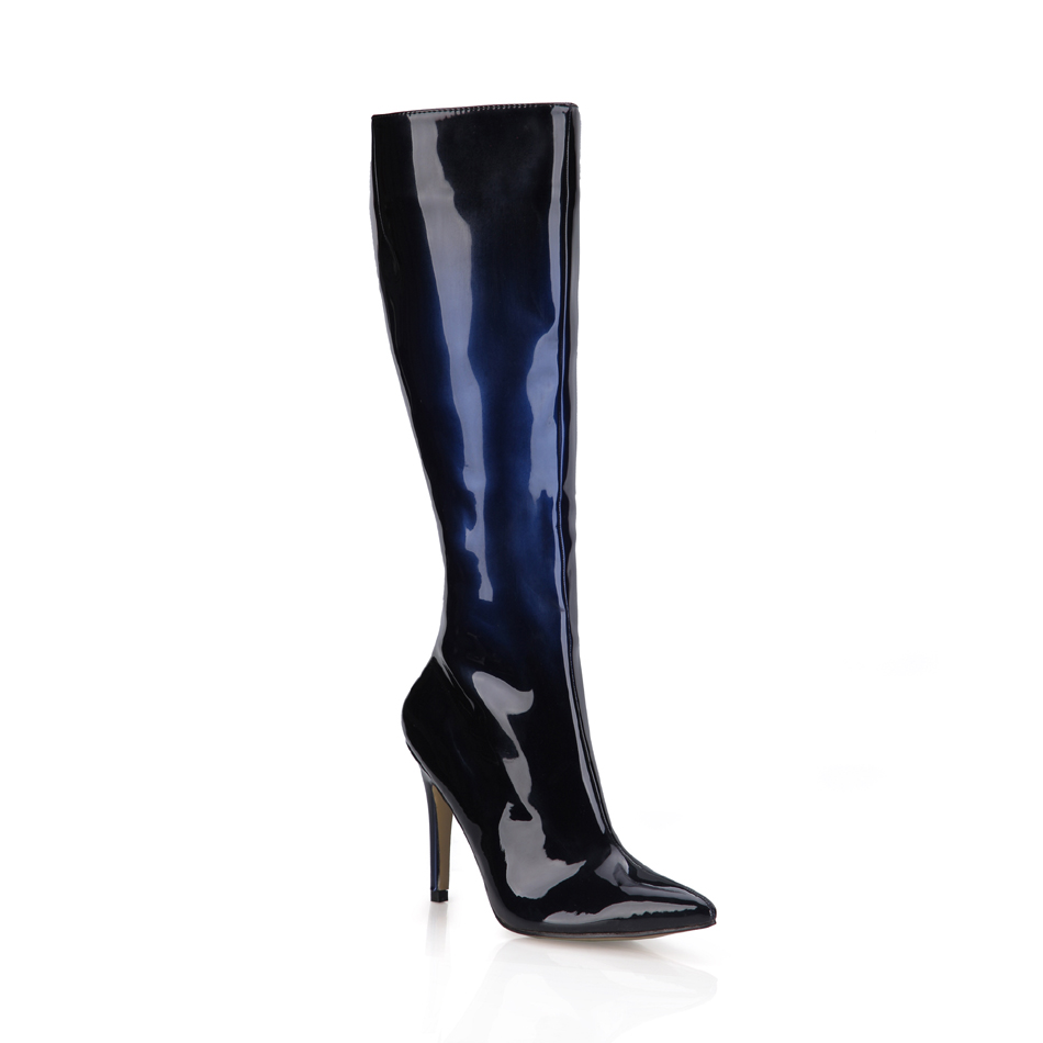 2016 Winter Black Blue Sexy Party Shoes Women Pointed Toe Stiletto High Heels Ladies Knee-High Boots Zapatos Mujer 70887BT-r5