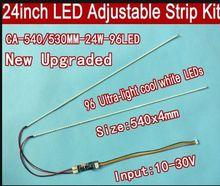 """Alta Qualidade 3 pçs/lote 540 milímetros 24 """"brilho Ajustável led backlight kit tira, atualização polegada painel LCD ccfl para retroiluminação LED"""
