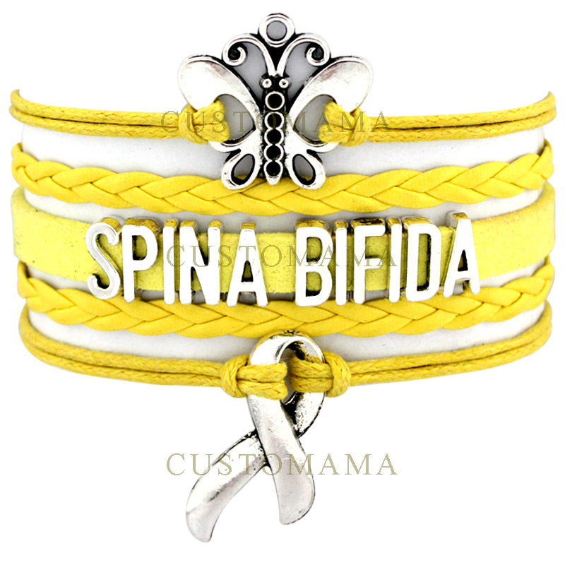 (10 PCS/Lot) Infinity Love Spina Bifida Awareness Ribbon Wrap Bracelet Survivor Yellow Suede Leather Custom any Theme Jewelry ...