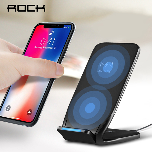 brand new 4a800 3f4dd ROCK 10W Qi Wireless Charger For iPhone X 8 10 Fast Wireless Charging Stand  Dock Station Phone Holder for Samsung Note 8 S8
