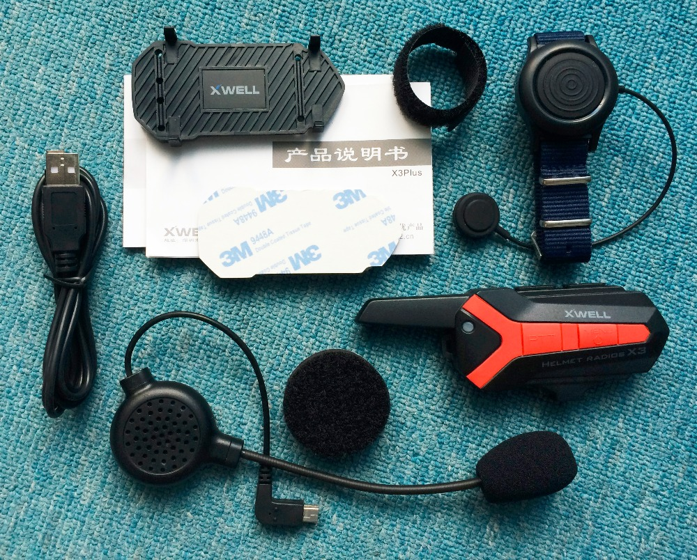 X3 Plus Bluetooth walkie talkie BT Motorcycle motorbike Helmet 1.5-3KM Intercom interphone Headset IP54 waterproof 2 way radio fjx tc 3000 fm 2 way radio walkie talkie transceiver intercom